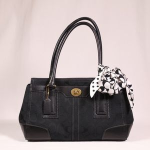 Black Coach Signature Bag with Ribbon